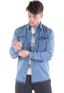 Camisa Jeans Bolsos Com Lapela Azul Sky