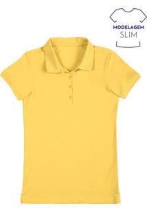 Polo Feminina Básica Em Malha Piquê Em Modelagem Slim