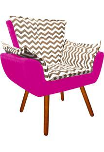 Poltrona Decorativa Opala Suede Compos㪠Estampado Zig Zag Bege D81 E Suede Pink - D'Rossi - Rosa - Dafiti