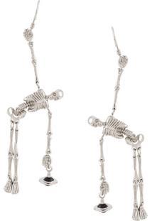 Vivienne Westwood Par De Brincos Skeleton Orb - Prateado