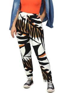 Calça Dpontes Pantalona Elástico Floral Verão Feminina - Feminino