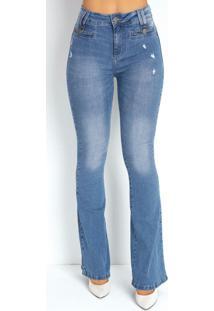 Calça Jeans Clara Flare Puídos E Botões Sawary