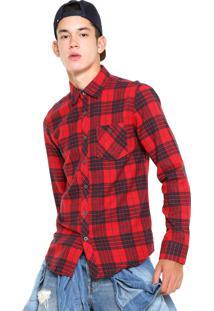 Camisa Red Nose Xadrez Flanelada Vermelha/Preta