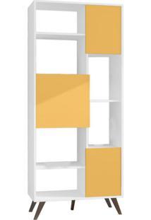 Estante Retrô I Branca E Amarela