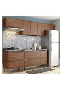 Cozinha Completa Multimóveis Com 5 Peças Calábria 5456 Nogueira Marrom