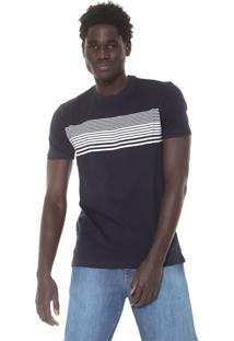 Camiseta Nicoboco Slim South Azul-Marinho/Branca