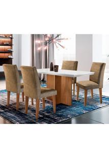 Conjunto De Mesa De Jantar Ane Com 4 Cadeiras Estofadas Grécia I Animalle Off White E Chocolate