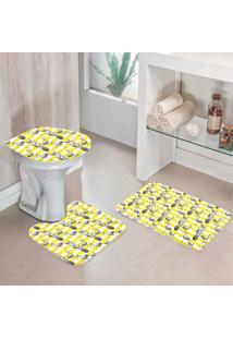 Jogo Tapetes Para Banheiro Flamingos Abacaxi - Único