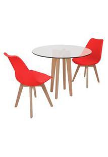 Conjunto Mesa De Jantar Em Vidro 90Cm Com Base Vértice + 2 Cadeiras Leda - Vermelho