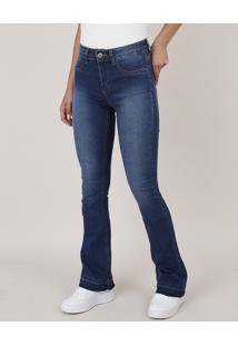 Calça Jeans Feminina Sawary Flare Barra Desfeita Azul Escuro