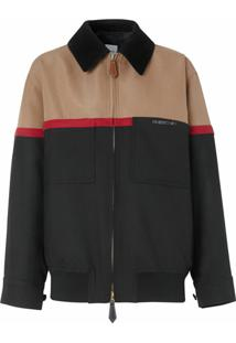 Burberry Jaqueta Harrington Color Block - Preto