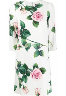 Dolce & Gabbana Vestido Reto Com Estampa De Rosas - Branco