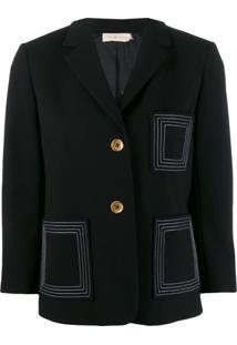 Tory Burch Blazer Com Contraste De Costura - Preto
