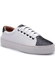 Tenis Top Franca Shoes Com Glitter Feminino - Feminino-Branco+Preto