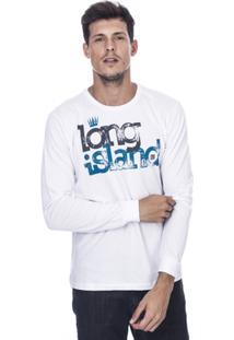 Camiseta Manga Longa Long Island Cs Masculina - Masculino-Branco