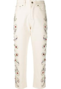 Golden Goose Calça Jeans Cropped Com Aplicações - Neutro