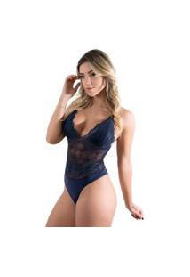 Body Nude Sexy Renda Azul Marinho Feminino Linha Noite Anita