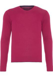 Blusa Masculina Tricot Básico V-Neck - Vermelho