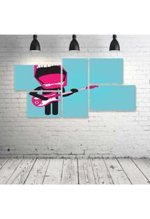 Quadro Decorativo - Rock-Kiss - Composto De 5 Quadros