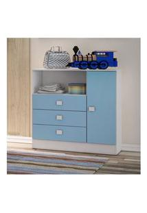 Cômoda 3 Gavetas E 1 Porta Baby Azul Percasa Móveis
