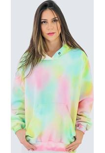 Blusa Moletom Fechado Com Toca Fashion Feminino Tie Dye Dubuy 700El Colorido