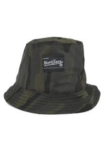 Bucket Your Face Camo Verde Casual Urbano Estilo Conforto Skate Logo