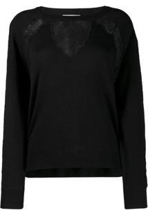 Twin-Set Suéter Com Recorte De Renda - Preto