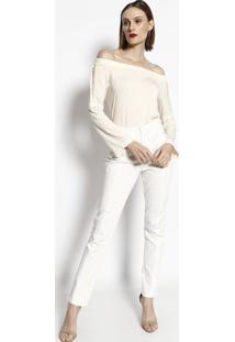 Blusa Ciganinha Com Renda Guipir - Off Whitecotton Colors Extra