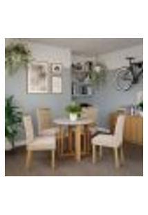 Conjunto De Mesa De Jantar Flora I Com Tampo Off White E 4 Cadeiras Estofadas Laura Suede Nude E Madeira