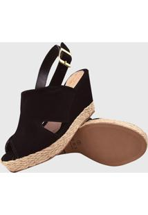 Sandalia Salto Elegance Anabela Nobuck Preto