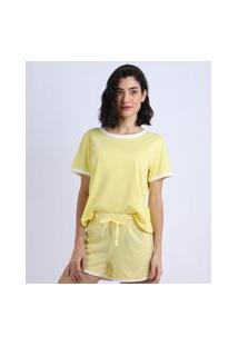 Pijama Feminino Manga Curta Decote Redondo Amarelo