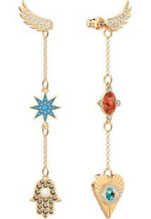 Brincos Lucky Goddess, Multicolor, Banho De Ouro