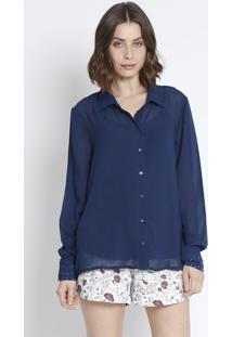 Camisa Lisa- Azul Marinho - ÊNfaseãŠNfase