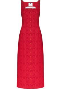 Marine Serre Moonogram Jacquard Pinafore Dress - Vermelho