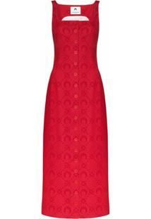 Marine Serre Vestido Salopete De Jacquard Com Monograma - Vermelho
