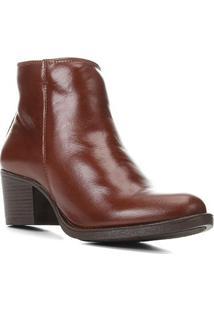Bota Couro Shoestock Cano Curto Salto Comfort Feminina - Feminino-Café