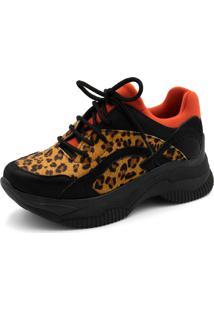 Tênis Sneaker Chuncky Ellas Online Preto/Onça