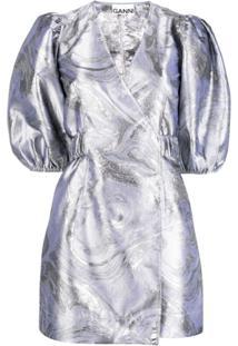 Ganni Vestido Envelope Com Mangas Bufantes De Jacquard - Prateado