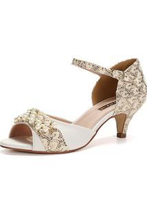 Sandália New Elegance Renda Ouro Com Bordado Em Pérolas E Salto Fino Baixo