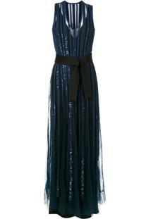 Gloria Coelho Vestido Longo De Festa Bordado Azul