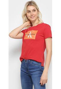 Camiseta Calvin Klein Básica Estampa Logo Feminina - Feminino-Vermelho