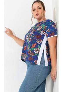 Blusa Floral Azul Com Fendas Laterais Plus Size