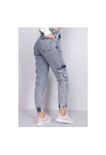 Calça Jeans Jogger Cargo Sky Gang Feminina