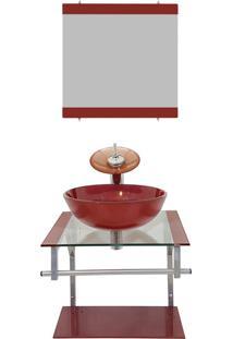 Gabinete Vidro Para Banheiro Polônia Vermelho Cereja Ekasa