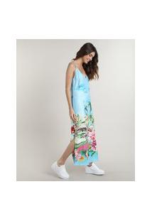 Vestido Feminino Midi Estampado Tropical Alças Finas Azul Claro