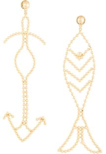 Tory Burch Beaded Fish Statement Earrings - Dourado