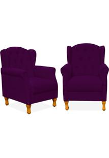 Kit 02 Poltronas Decorativas Para Sala De Estar Yara Suede Roxo Brilho - Lyam Decor