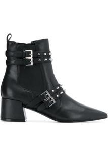 Kendall+Kylie Ankle Boot De Couro Com Tachas - Preto