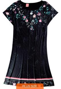 Vestido Preta Curto Floral Em Liganete