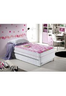 Cama Box Infantil Anjos Bety Com Bicama 88X188X51 Cm - Branco/Rosa